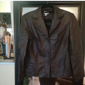 💕Talbots leather Blazer jacket